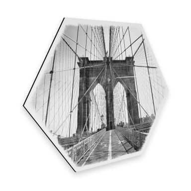 Hexagon - Alu-Dibond - Brooklyn Bridge