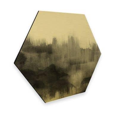 Hexagon - Alu-Dibond Goldeffekt Nouveauprints - Watercolour Brush Strokes (schwarz)