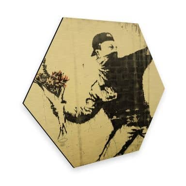 Hexagon - Alu-Dibond Gold effect Banksy - Flower Thrower