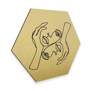 Hexagon - Alu-Dibond Guldeffekt - Hariri - Karisma