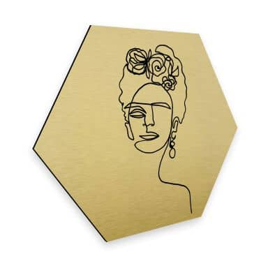 Hexagon alu-dibond gold-effect Hariri - Frida Kahlo