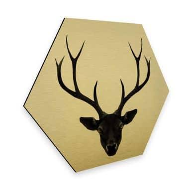 Hexagon - Alu-Dibond-Goldeffekt - Ireland - The Black Deer
