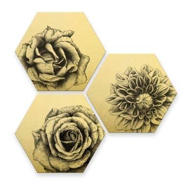 Hexagon - Alu-Dibond-Goldeffekt Kools - Flowery 3er Set