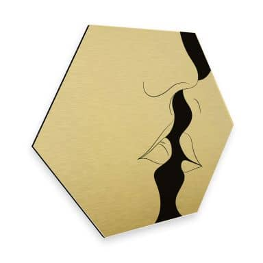 Hexagon - Alu-Dibond-Goudeffect Nordic Creators - Kiss