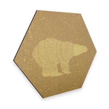 Hexagon - Alu-Dibond-Goldeffekt Polarbär Weiß