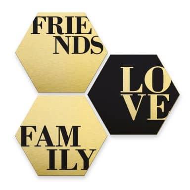 Alu-Dibond Print Gold - Love, Friends