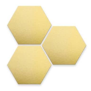 Hexagon - alu dibond kopereffect (set van 3)