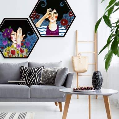 Hexagon-Set Alu Dibond Hülya - Augenblicke