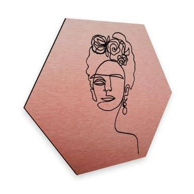 Hexagon alu-dibond copper-effect Hariri - Frida Kahlo