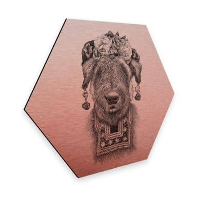 Hexagon - Alu-Dibond Kupfereffekt Kools - Suusi Kahlo