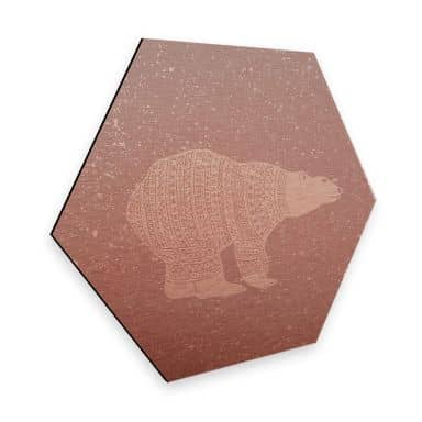 Hexagon - Alu-Dibond-Kupfereffekt Polarbär Weiß