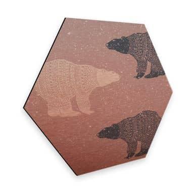 Hexagon - Alu-Dibond-Kupfereffekt Polarbären