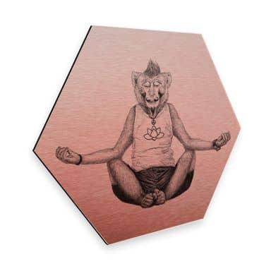 Hexagon - Alu-Dibond Kupfereffekt Kools - Monkey Yoga