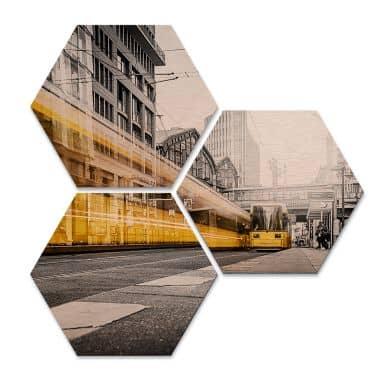 Hexagon alu-dibond koper effect - Berlijn