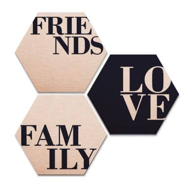 Hexagon alu dibond koper effect - Love, Friends
