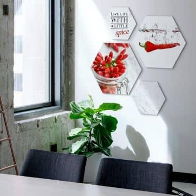 Hexagon alu-dibond - Sharp Chili (4-delig)