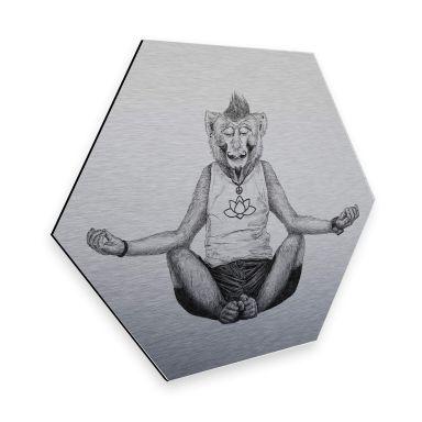 Hexagon - Alu-Dibond Silbereffekt Kools - Monkey Yoga