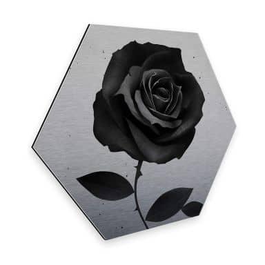 Hexagon - Alu-Dibond-Silbereffekt Ireland - Fabric Rose