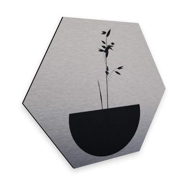 Hexagon - Alu-Dibond Silbereffekt Kubistika - Abstracticum