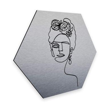 Hexagon alu-dibond silver-effect Hariri - Frida Kahlo