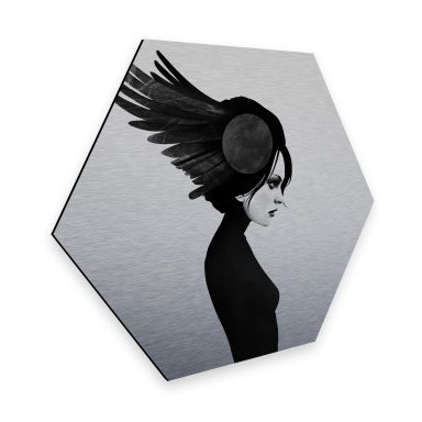 Hexagon - Alu-Dibond-Silbereffekt Ireland - Amy - Flügel