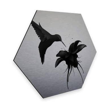 Hexagon - Alu-Dibond-Silbereffekt Ireland - Chorum - Kolibri