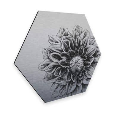 Hexagon - Alu-Dibond Zilver effect Kools Dahlia