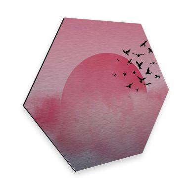 Hexagon - Alu-Dibond-Silbereffekt Nordic Creators - Pink Sunshine
