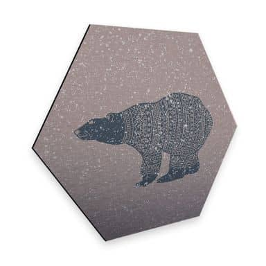 Hexagon - Alu-Dibond-Silbereffekt Polarbär Blau
