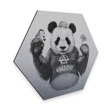 Hexagon - Alu-Dibond-Silbereffekt Kools - Punk Panda