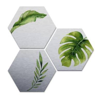 Hexagon alu-dibond zilver effect - Kvilis - Jungle