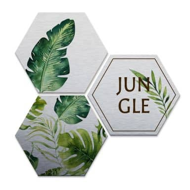 Hexagon alu-dibond zilver - Kvilis - Jungle 02