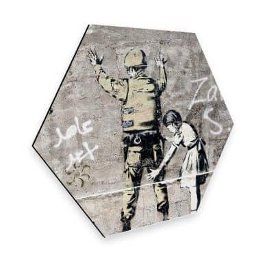 Hexagon - Alu-Dibond Banksy - Das Mädchen und der Soldat
