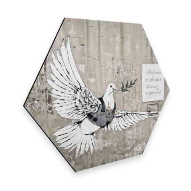 Hexagon - Alu-Dibond Banksy - The dove of peace