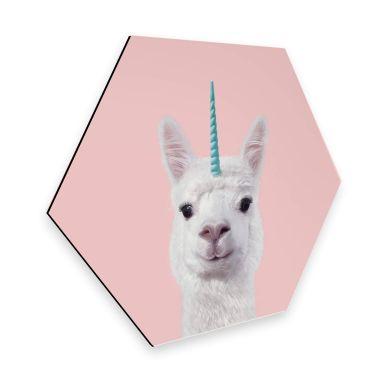 Hexagon - alu-dibond Fuentes - Alpaca Unicorn
