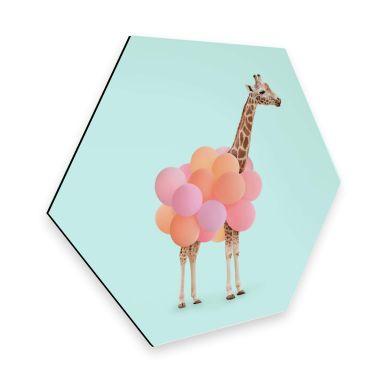 Hexagon Alu-Dibond Fuentes - Giraffe & Balloons