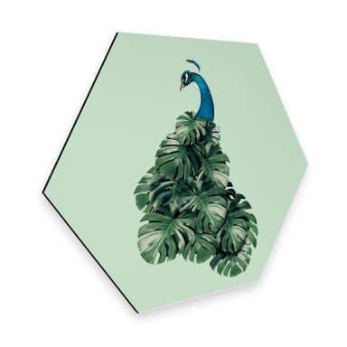 Hexagon - Alu-Dibond Loose - Monstera Bird