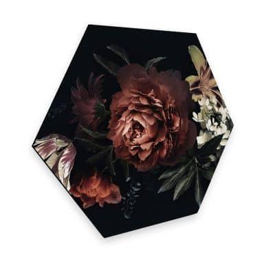 Hexagon - Alu-Dibond Blumenbouquet Rot