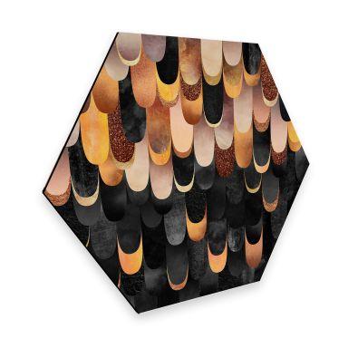 Hexagon - Alu-Dibond Fredriksson - Federn aus Kupfer
