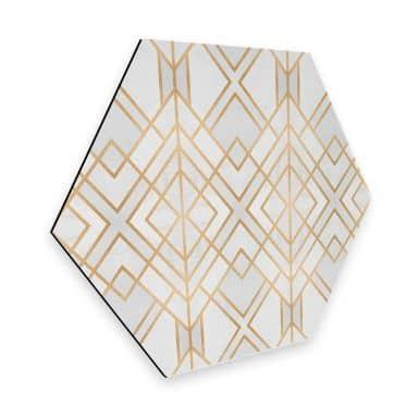 Hexagon - Alu-Dibond Fredriksson - Goldene Geometrie