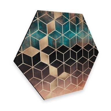 Hexagon - Alu-Dibond Fredriksson - Goldgrüne Geometrie