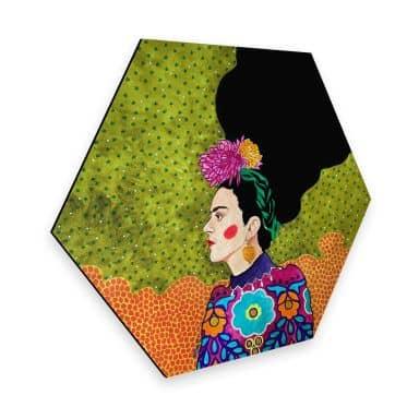 Hexagon - Alu-Dibond Hülya - Frida im Portrait