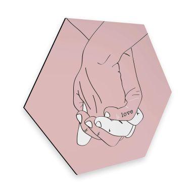 Hexagon - Alu-Dibond Kubistika - Hand in Hand