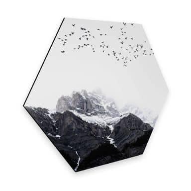Hexagon - Alu-Dibond Kubistika - Hoch in den Bergen