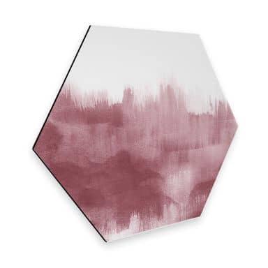 Hexagon - Alu-Dibond Nouveauprints - Watercolour Brush Strokes (rosé)