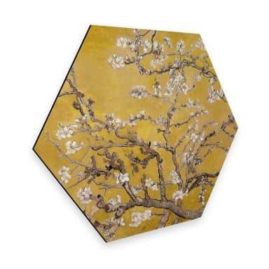 Hexagon Dibond van Gogh - Amandelbloesem oker