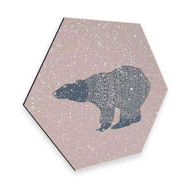 Hexagon - Alu-Dibond Polarbär Blau