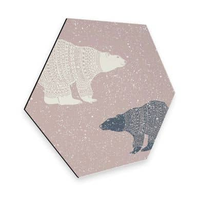 Hexagon - Alu-Dibond Polarbären