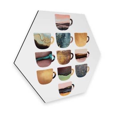 Hexagon - Alu-Dibond - Fredriksson: Kaffeetassen: Pretty Nature