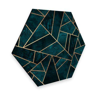 Hexagon - Alu-Dibond Fredriksson - Blau-grüner Edelstein